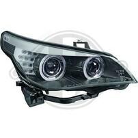 BMW E60 07-10 Фары c led ангельскими глазками черные в стиле F10 под AFS ксенон