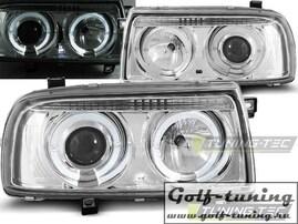 VW Vento Фары с линзами и ангельскими глазками хром