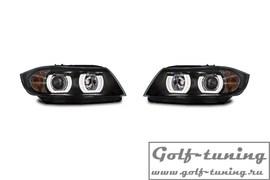 BMW E90/E91 04-08 Фары с LED ангельскими глазками и линзами черные под ксенон