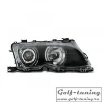 BMW E46 4Дв 98-01 Фары с линзами и ангельскими глазками черные
