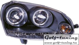 VW Golf 5 Фары Dayline с линзами и ангельскими глазками черные