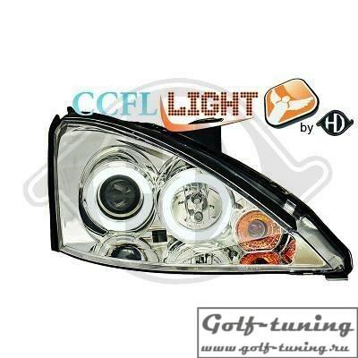 Ford Focus 98-01 Фары с линзами и CCFL ангельскими глазками хром