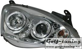 Opel Corsa С Фары с линзами и ангельскими глазками хром
