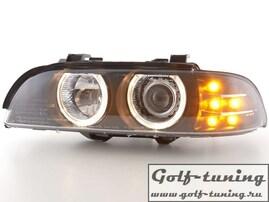 BMW E39 95-00 Фары с линзами и ангельскими глазками черные с светодиодным поворотником