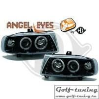 Seat Ibiza 93-00 Фары с линзами и ангельскими глазками черные