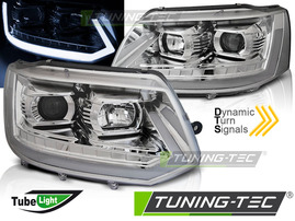 VW T5 GP 09-15 Фары led tube light в стиле T6 хром