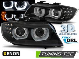 BMW E90/E91 09-12 Фары 3D led angel eyes черные под ксенон