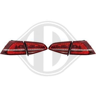 VW Golf 7 12-17 Фонари светодиодные, красно-белые