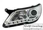 VW Tiguan 07-11 Фары Devil eyes, Dayline хром