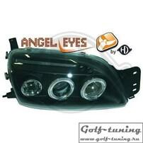 Ford Fiesta 99-02 Фары с линзами и ангельскими глазками черные