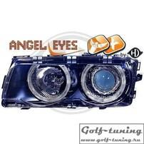 BMW E38 98-01 Фары с линзами и ангельскими глазками черные под ксенон