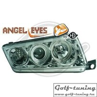 Skoda Fabia 99-07 Фары с ангельскими глазками и линзами хром