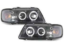 Audi A3 8L 96-00 Фары с линзами и ангельскими глазками черные