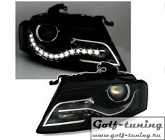 Audi A4 B8 07-11  Фары Devil eyes, Dayline черные