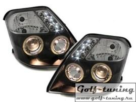 Citroen C2 03- Фары с линзами и ангельскими глазками черные