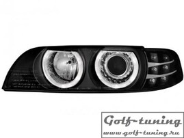 BMW E39 95-03 Фары с ангельскими глазками и линзами черные
