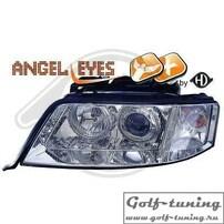 Audi A6 4B 97-01 Фары с ангельскими глазками и линзами хром под ксенон