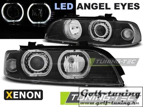 BMW E39 95-03 Фары Angel Eyes LED под ксенон черные
