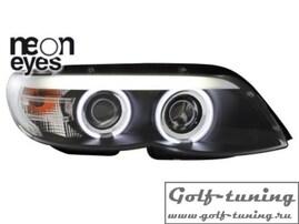 BMW X5 03-07 Фары с линзами и CCFL ангельскими глазками черные под ксенон