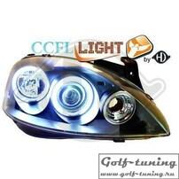 Opel Corsa С Фары с линзами и ангельскими глазками черные