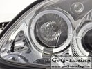 Mercedes R170 96-02 Фары с ангельскими глазками и линзами хром