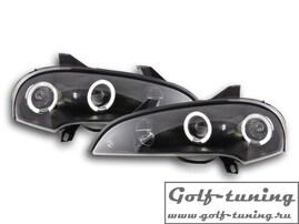 Opel Tigra 94-00 Фары с линзами и ангельскими глазками черные