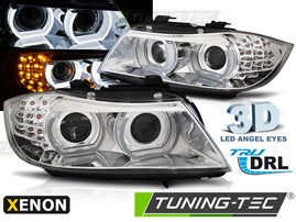 BMW E90/E91 09-12 Фары 3D led angel eyes хром под ксенон