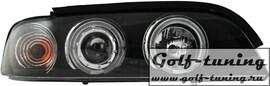 BMW E39 95-03 Фары с линзами и ангельскими глазками черные