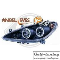 Peugeot 307 01-05 Фары с линзами и ангельскими глазками черные