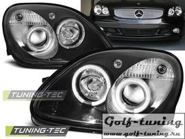 Mercedes R170 96-04 Фары Angel eyes черные