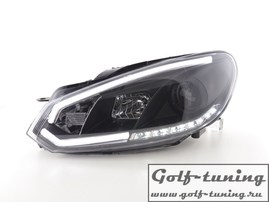 VW Golf 6 Фары lightbar design черные