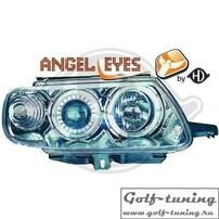 Citroen Saxo 96-99 Фары с линзами и ангельскими глазками хром
