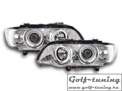 BMW X5 98-02 Фары с линзами и ангельскими глазками хром