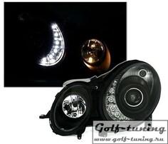 Mercedes W211 02-06 Фары Devil eyes, Dayline черные под ксенон