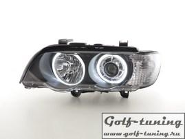 BMW X5 00-03 Фары с линзами и ангельскими глазками черные