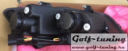VW Polo 6R 09-14/Polo 6C 15-/Polo Sedan 09-14-15- Фары в стиле гольф 7 гти черные с красной полосой