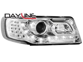 Audi 100 90-94 Фары Devil eyes, Dayline хром с светодиодным поворотником