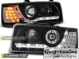 VW T4 90-96 Фары Devil eyes, Dayline с светодиодным поворотником черные