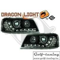 VW T5 03-09 Фары Devil eyes, Dayline черные с светодиодным поворотником