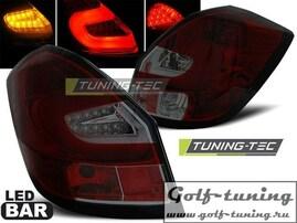 Skoda Fabia 07-14 Фонари светодиодные, красно-тонированные Lightbar с светодиодным поворотником