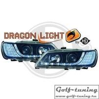 Peugeot 306 93-97 Фары Devil eyes, Dayline черные с светодиодным поворотником