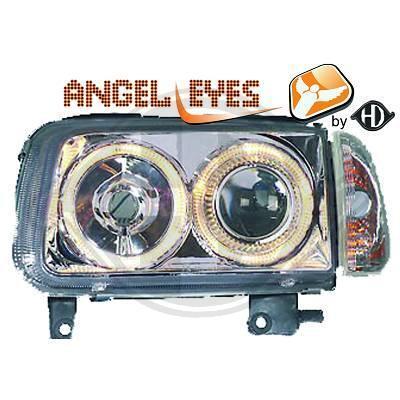 VW Polo 6N2 99-01 Фары с линзами и ангельскими глазками хром