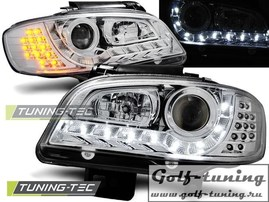 Seat Ibiza 6K, Cordoba 99-02 Фары Devil eyes, Dayline с светодиодным поворотником хром
