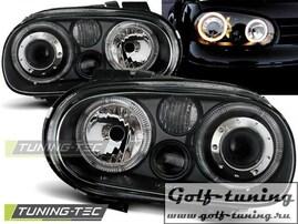 VW Golf 4 Фары Angel eyes черные
