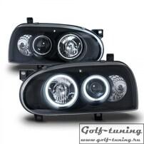 VW Golf 3 Фары с линзами и ангельскими глазками черные