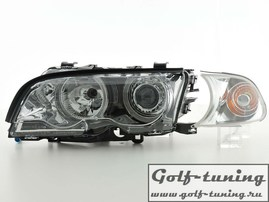 BMW E46 2Дв 98-01 Фары с линзами и ангельскими глазками хром xenon conversion kit