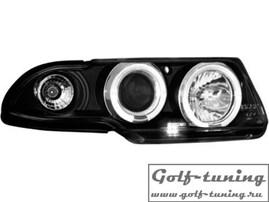 Opel Astra F 91-94 Фары с линзами и ангельскими глазками черные