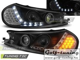 Ford Mondeo 96-00 Фары Devil eyes, Dayline с светодиодным поворотником черные