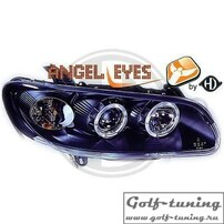 Opel Omega B 94-99 Фары с ангельскими глазками и линзами черные