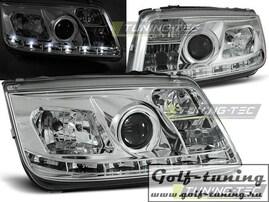 VW Bora 98-05 Фары Devil eyes, Dayline хром